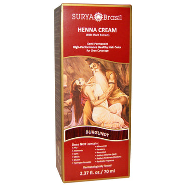 Surya Henna, Henna Cream, Hair Coloring & Conditioning Treatment, Burgundy, 2.37 fl oz (70 ml)