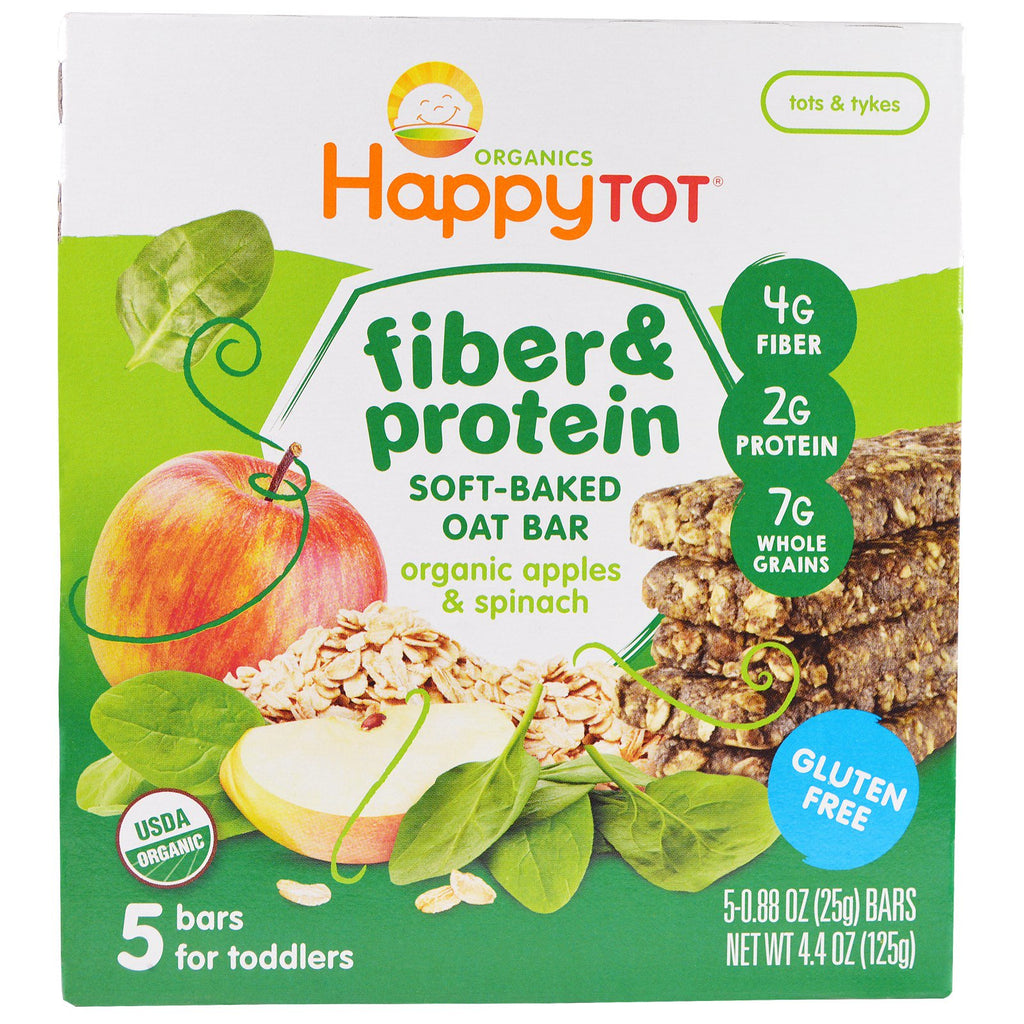 Nurture Inc. (Happy Baby) Happytot Fiber & Protein Soft-Baked Oat Bar Organic Apples & Spinach 5 Bars 0.88 oz (25 g) Each