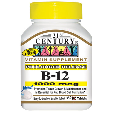 21st Century, B-12, Prolonged Release, 1000 mcg, 110 Tablets