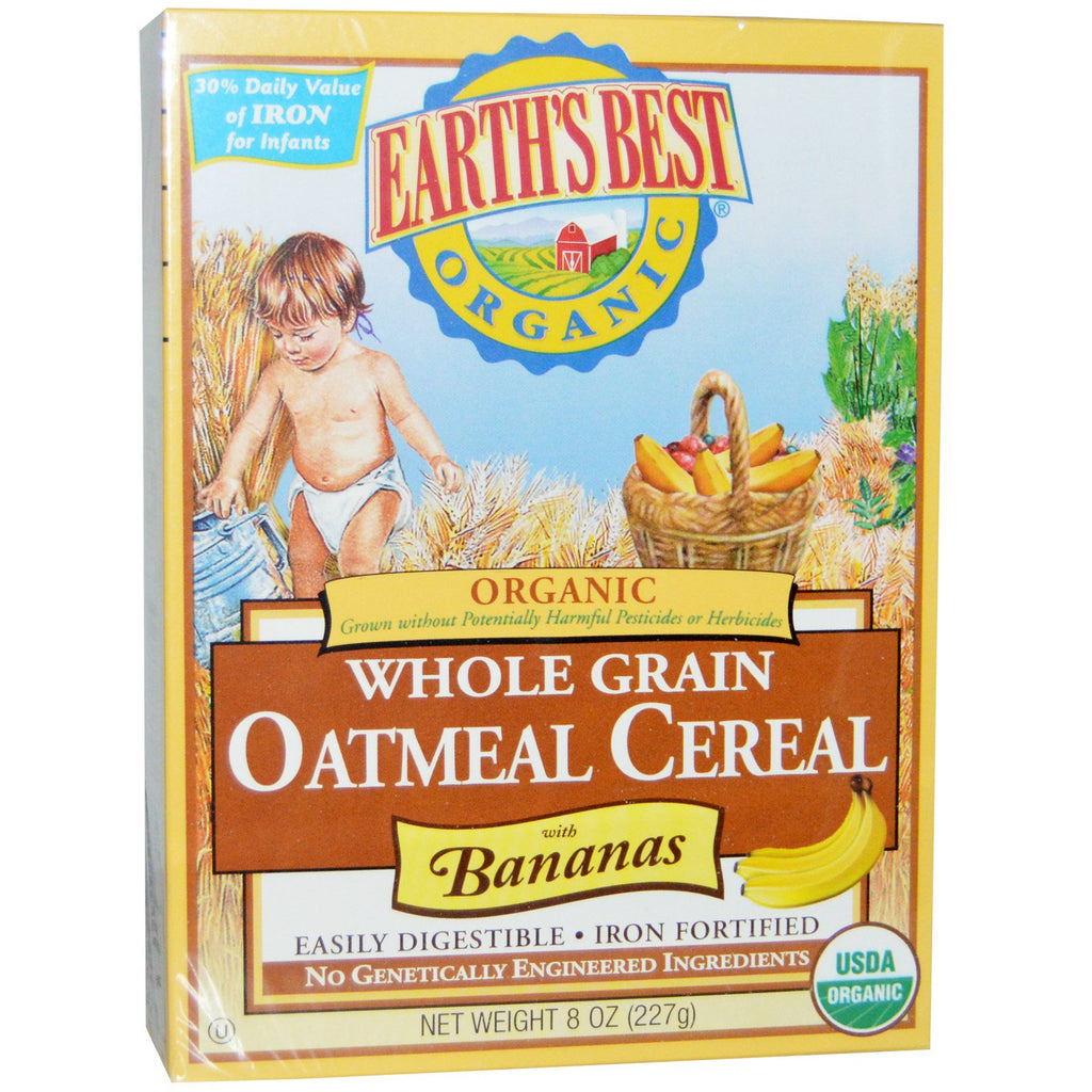 Earth's Best Organic Whole Grain Oatmeal Cereal with Bananas 8 oz (227 g)