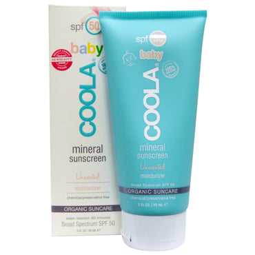 COOLA Organic Suncare Collection Baby Mineral Sunscreen SPF 50 Unscented Moisturizer 3 fl oz (90 ml)