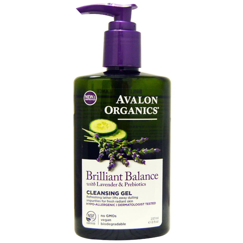 Avalon Organics, Brilliant Balance, With Lavender & Prebiotics, Cleansing Gel, 8 fl oz (237 ml)