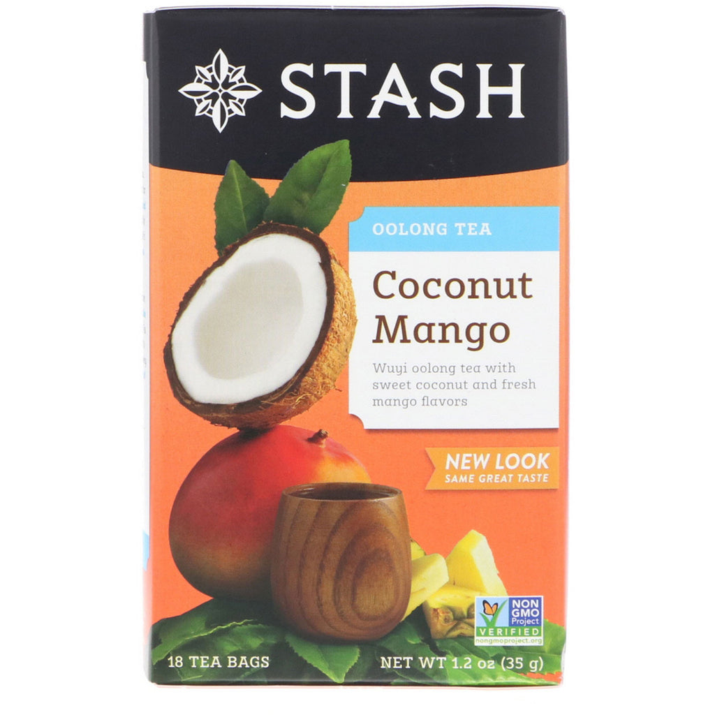 Stash Tea, Oolong Tea, Coconut Mango, 18 Tea Bags, 1.2 oz (35 g)