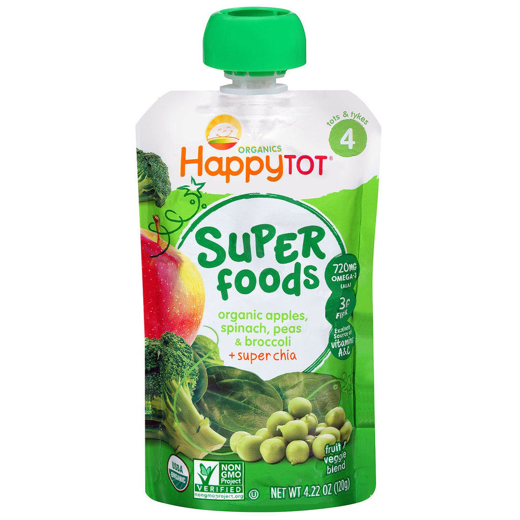 Nurture Inc. (Happy Baby) Happytot Organic Superfoods Apples Spinach Peas & Broccoli + Super Chia 4.22 oz (120 g)