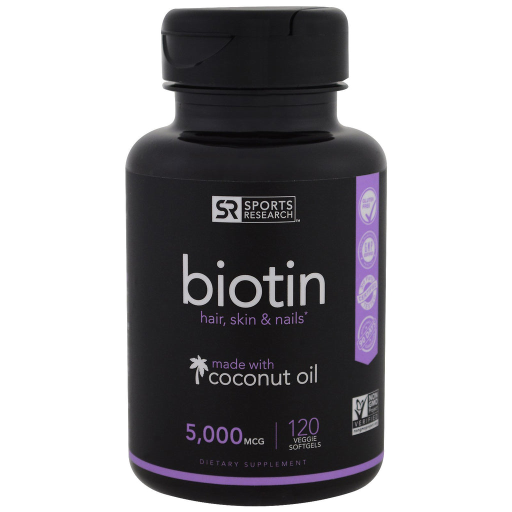 Sports Research, Biotin, 5,000 mcg, 120 Veggie Softgels