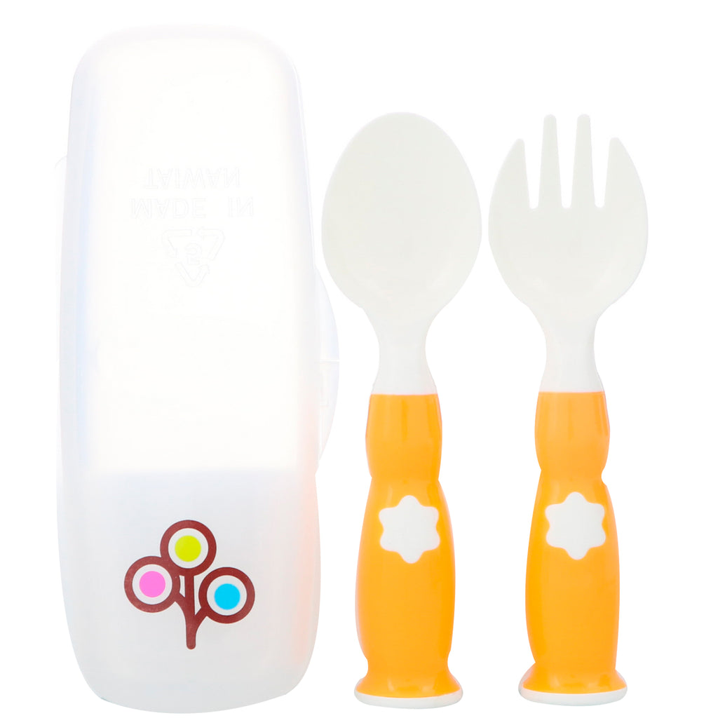 Zoli, Fork & Spoon Set, +6 Mo, Orange, 2 Piece Set