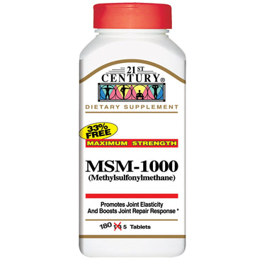 21st Century, MSM-1000 Maximum Strength, 1,000 mg, 180 Tablets