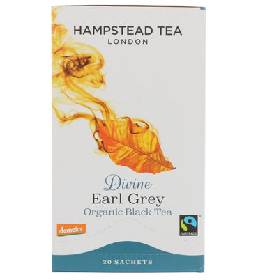 Hampstead Tea, London, Organic Black Tea, Divine Earl Grey, 20 Sachets, 1.41 oz (40 g)