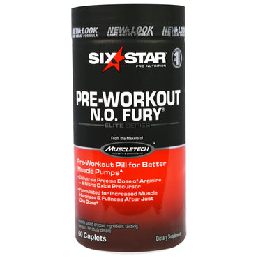 Six Star, Six Star Pro Nutrition, Pre-Workout, N.O. Fury, Elite Series, 60 Caplets