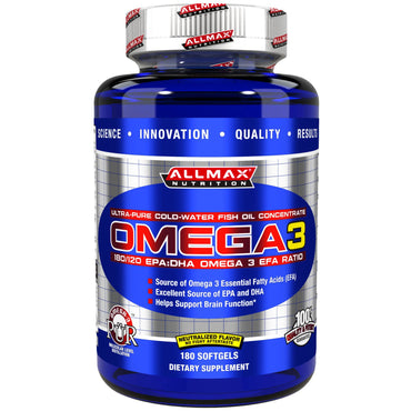 ALLMAX Nutrition, Omega-3 Fish Oil, Ultra-Pure Cold-Water Fish Oil, ZERO-GMO, ZERO-Gluten, 180 Softgels