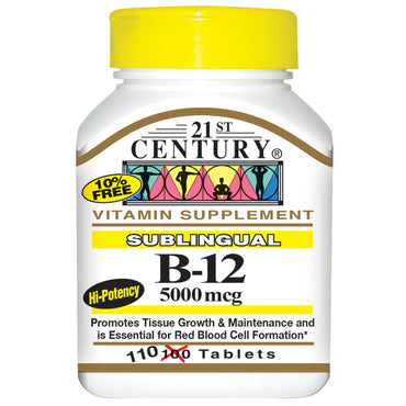 21st Century, Sublingual B-12, 5000 mcg, 110 Tablets