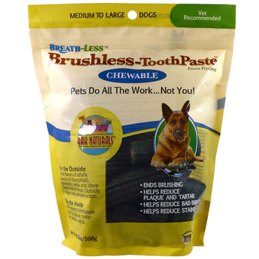 Ark Naturals, Breath-Less, Brushless Toothpaste, Chewable, Medium To Large Dogs, 18 oz (508 g)