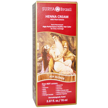 Surya Henna, Henna Cream, Hair Color and Conditioner, Ash Blonde, 2.37 fl oz (70 ml)
