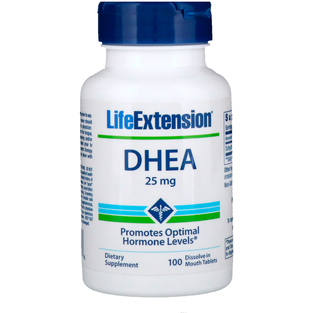 Life Extension, DHEA, 25 mg, 100 Dissolve in Mouth Tablets