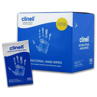 Clinell Antibacterial Hand Wipes, Pack of 100 Sachets