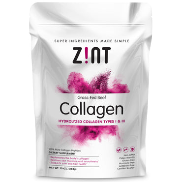 Zint, Grass-Fed Beef Collagen, Hydrolyzed Collagen Types I & III, 10 oz (283 g)