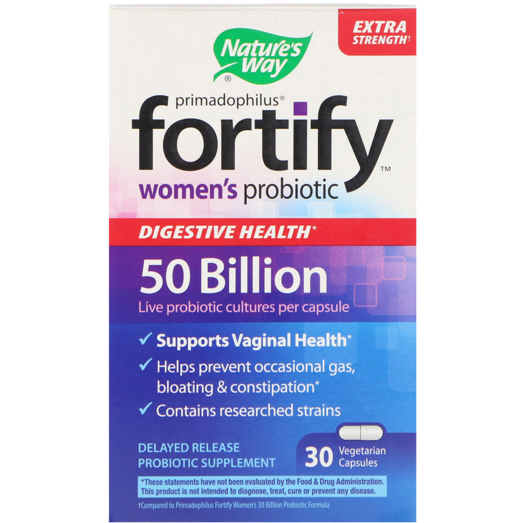 Nature's Way, Primadophilus, Fortify, Women's Probiotic, Extra Strength, 30 Vegetarian Capsules