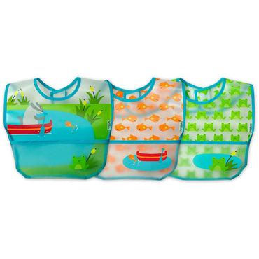iPlay Inc., Green Sprouts, Wipe-Off Bibs, 9-18 Months, Aqua Pond Set, 3 Pack