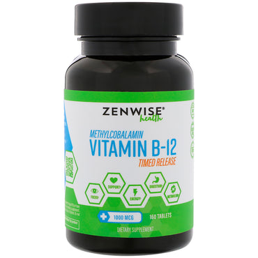 Zenwise Health, Methylcobalamin, Vitamin B-12, Timed Release, 1000 mcg, 160 Tablets