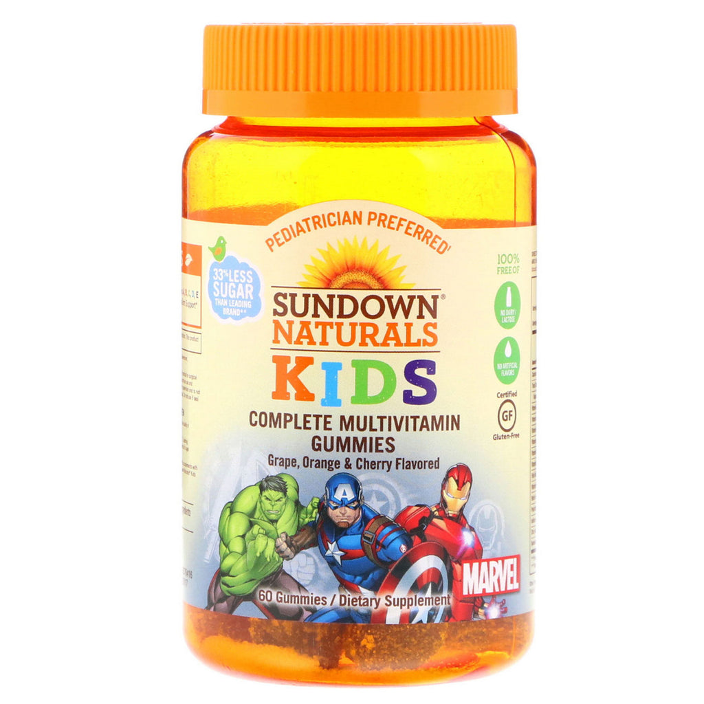 Sundown Naturals Kids, Complete Multivitamin Gummies, Marvel Avengers, Grape, Orange & Cherry , 60 Gummies