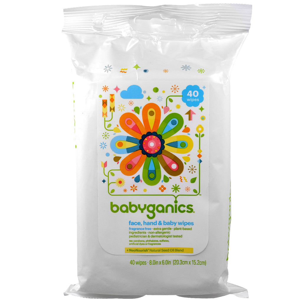 BabyGanics, Face, Hand & Baby Wipes, Fragrance Free, 40 Wipes, (8.0 in x 6.0 in) Each
