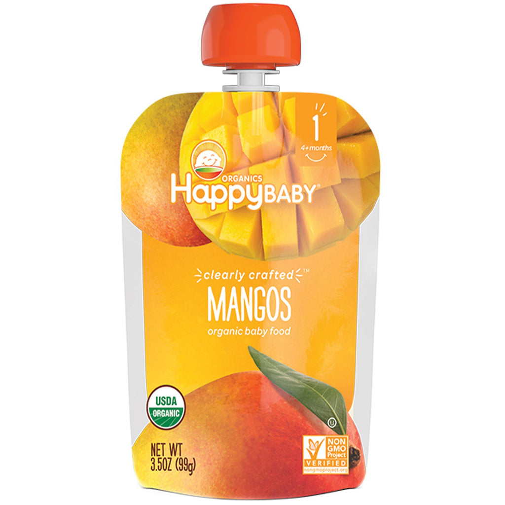 Nurture Inc. (Happy Baby) Organic Baby Food Stage 1 Clearly Crafted Mangos 4 + Months 3.5 oz (99 g)
