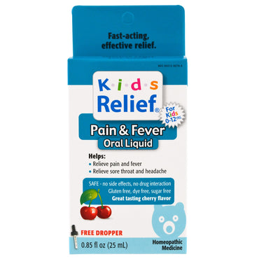 Homeolab USA, Kids Relief, Pain & Fever for Kids, Cherry Flavor, 0.85 fl oz (25 ml)
