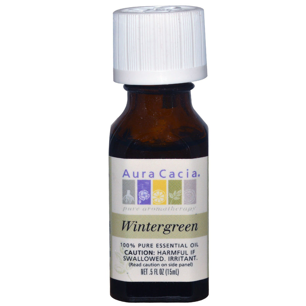 Aura Cacia, 100% Pure Essential Oil, Wintergreen, .5 fl oz (15 ml)