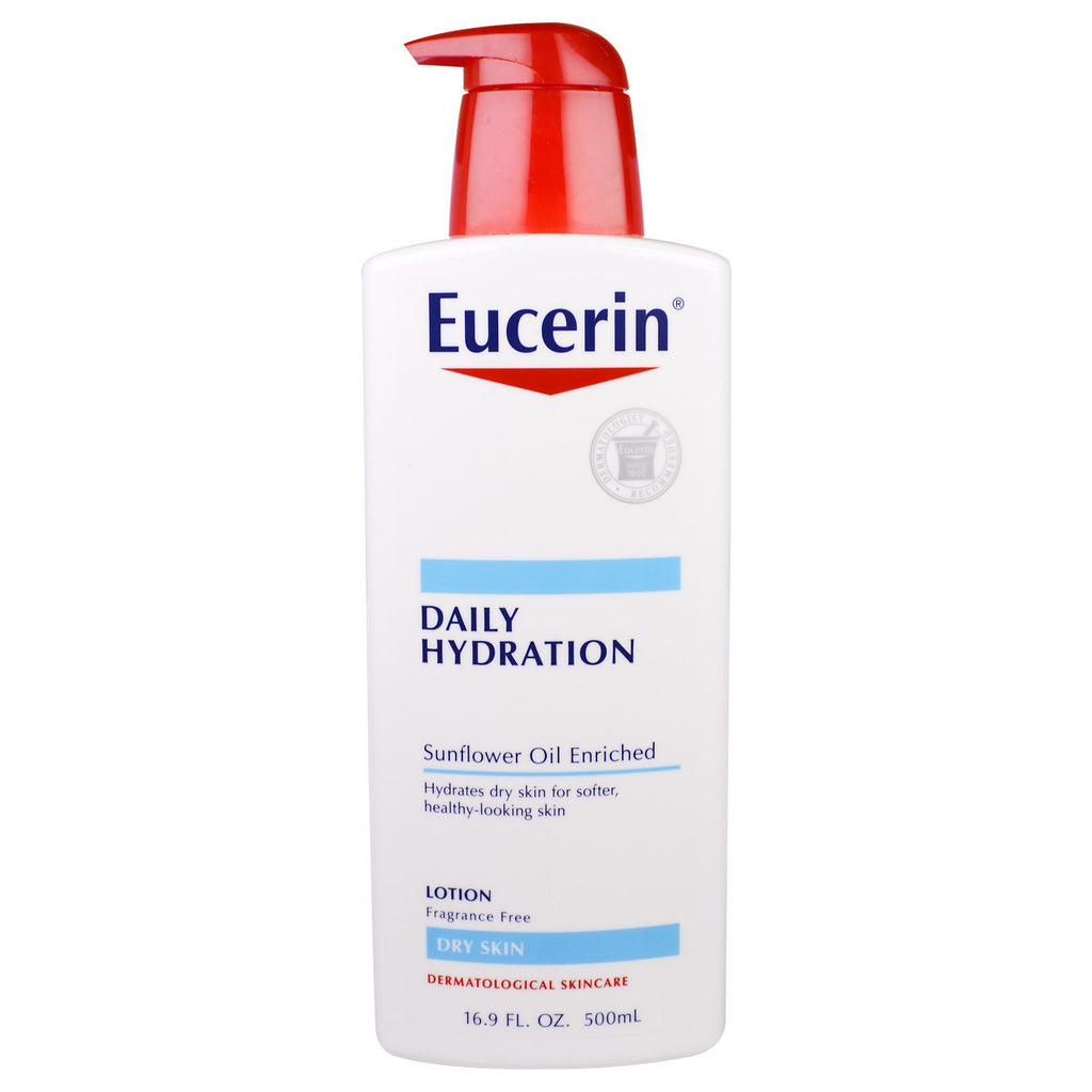 Eucerin, Daily Hydration, Lotion, Fragrance Free, 16.9 fl oz (500 ml)