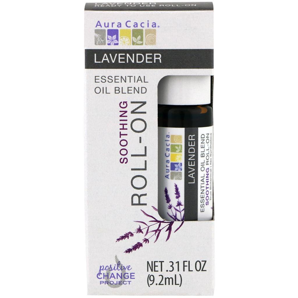Aura Cacia, Essential Oil Blend, Soothing Roll-On, Lavender, .31 fl oz (9.2 ml)