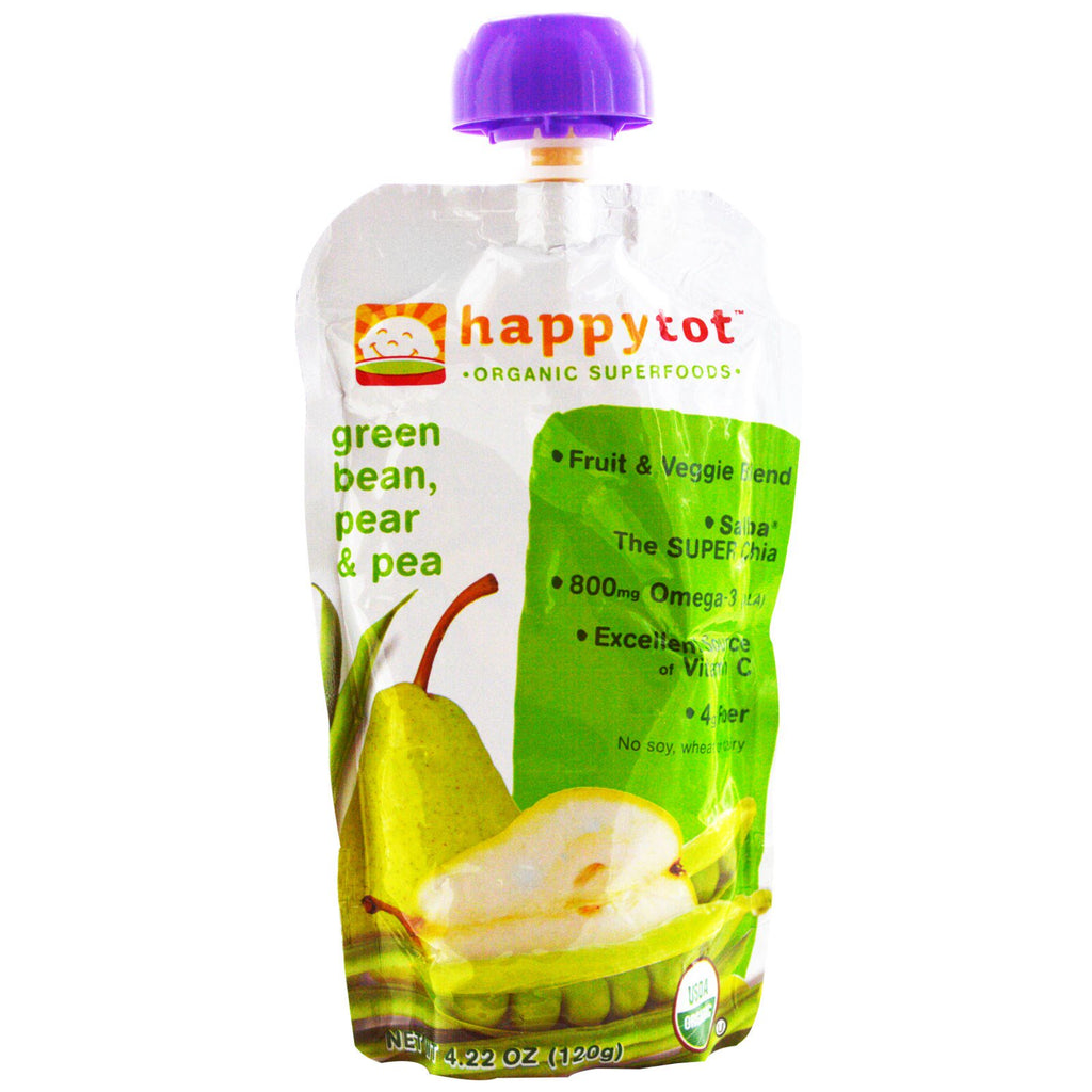 Nurture Inc. (Happy Baby) happytot Organic Superfoods Green Bean Pear and Pea 4.22 oz (120 g)