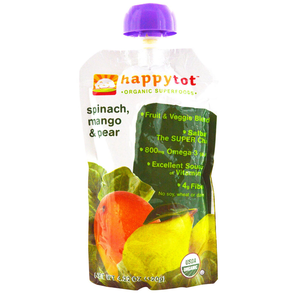 Nurture Inc. (Happy Baby) Happytot Organic SuperFoods Spinach Mango & Pear 4.22 oz (120 g)