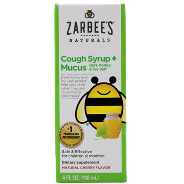 Zarbee's Children's Cough Syrup + Mucus Dark Honey & Ivy Leaf Natural Cherry Flavor 4 fl oz (118 ml)