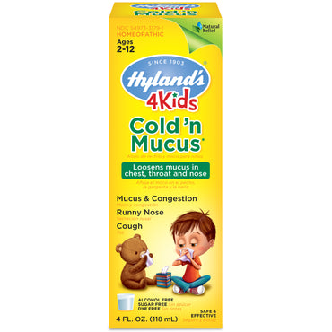 Hyland's, 4 Kids, Cold 'n Mucus, Ages 2-12, 4 fl oz (118 ml)