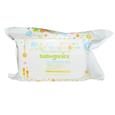 BabyGanics, Face, Hand & Baby Wipes, Fragrance Free, 100 Wipes