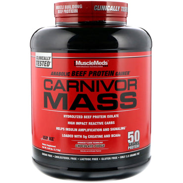 MuscleMeds, Carnivor Mass, Anabolic Beef Protein Gainer, Chocolate Fudge, 5.99 lbs (2,716 g)