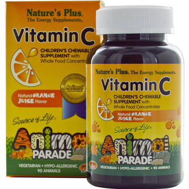 Nature's Plus, Source of Life, Animal Parade, Vitamin C, Children's Chewable Supplement, Natural Orange Juice Flavor, 90 Animals