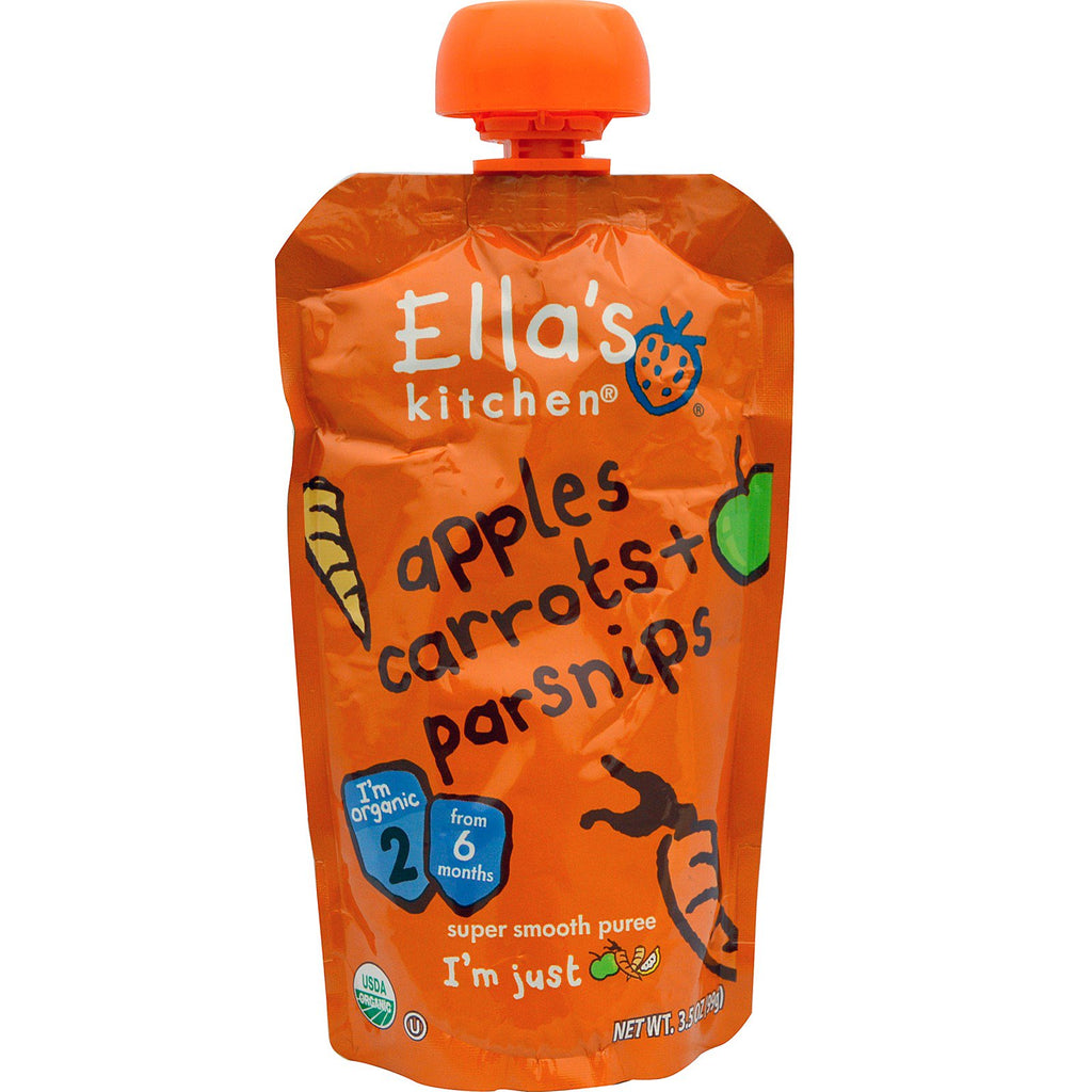 Ella's Kitchen Apples Carrots + Parsnips Super Smooth Puree 3.5 oz (99 g)
