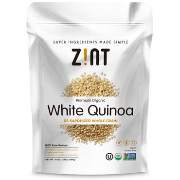 Zint, Premium Organic, White Quinoa, De-Saponized Whole Grain, 16 oz (454 g)