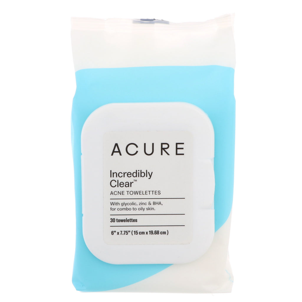 Acure, Incredibly Clear, Acne Towelettes , 30 Towelettes