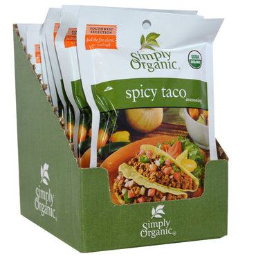 Simply Organic, Spicy Taco Seasoning, 12 Packets, 1.13 oz (32 g) Each