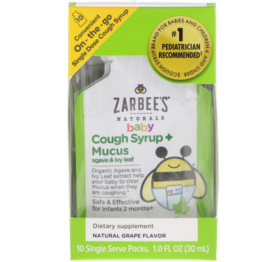 Zarbee's Baby Cough Syrup + Mucus with Organic Agave and Ivy Leaf On-the-Go Natural Grape Flavor 10 Single Serve Packs 1.0 fl oz (30 ml) Each