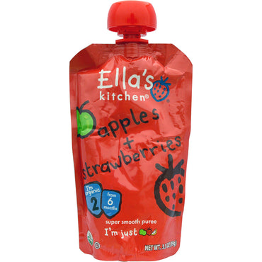 Ella's Kitchen Apples + Strawberries Super Smooth Puree Stage 2 3.5 oz (99 g)