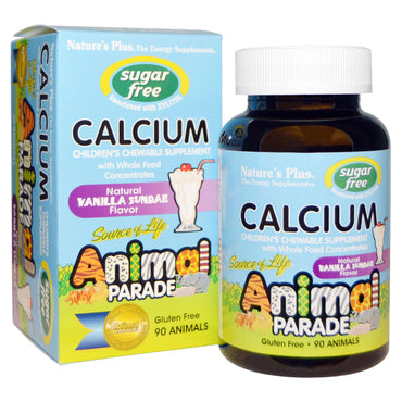 Nature's Plus, Source of Life, Animal Parade, Calcium, Sugar Free, Natural Vanilla Sundae Flavor, 90 Animals