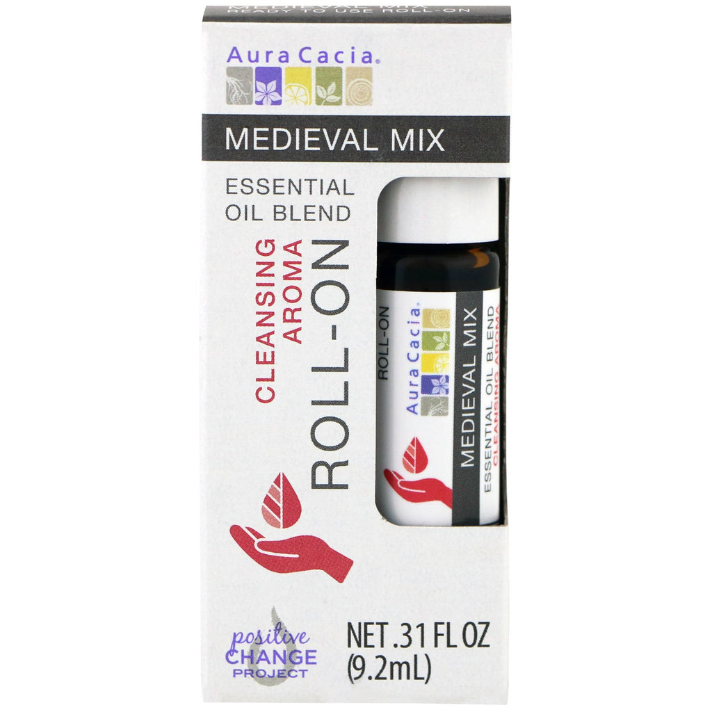 Aura Cacia, Essential Oil Blend, Cleansing Aroma Roll-On, Medieval Mix, .31 fl oz (9.2 ml)