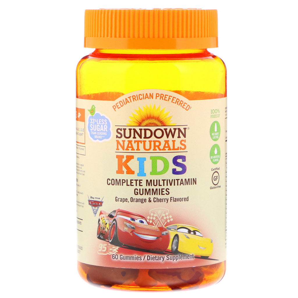 Sundown Naturals Kids, Complete Multivitamin Gummies, Disney Cars 3, Grape, Orange & Cherry , 60 Gummies