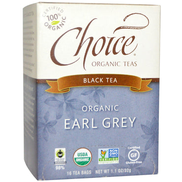 Choice Organic Teas, Black Tea, Organic, Earl Grey, 16 Tea Bags, 1.1 oz (32 g)
