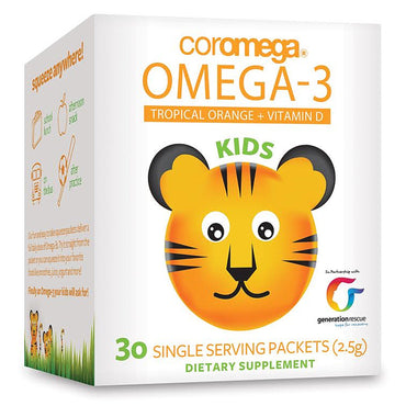 Coromega, Kids, Omega-3, Tropical Orange + Vitamin D, 30 Single Serving Packets (2.5 g)