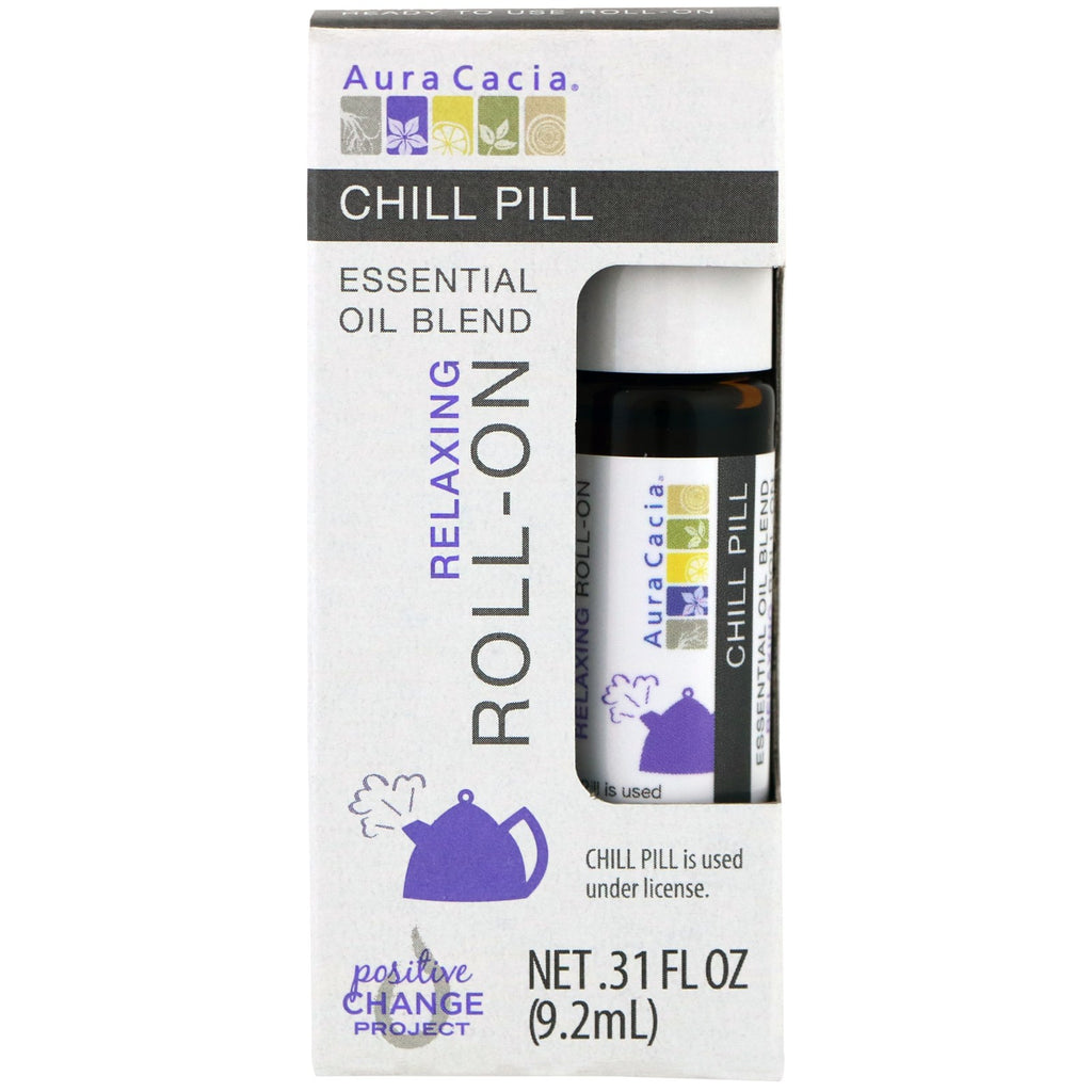 Aura Cacia, Essential Oil Blend, Relaxing Roll-On, Chill Pill, .31 fl oz (9.2 ml)