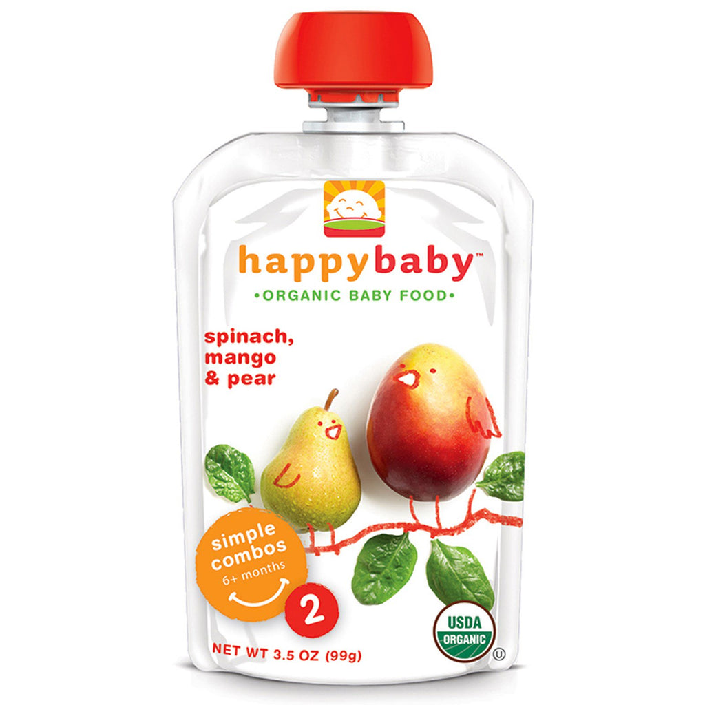 Nurture Inc. (Happy Baby) Organic Baby Food Stage 2 6+ Months Spinach Mango & Pear 3.5 oz (99 g)